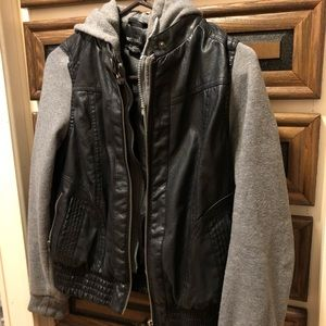 Hoodie Jacket, Gray and Faux Leather, Size M